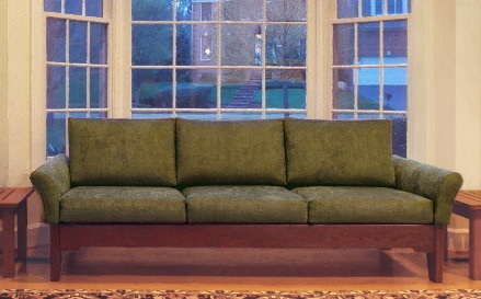 contemporary, clean-lined, non-bulky wood-frame sofa