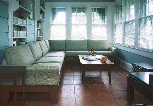 green sunroom sectional sofa