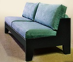black wood frame ofas, loveseats and chairs