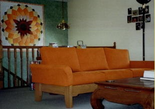 orange sofa with orange decoration