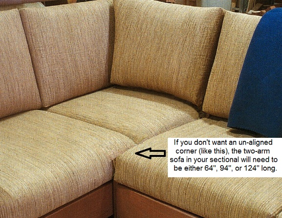1) A Virginia-style arm cannot be used for the arm that will be behind the corner (That arm style is too low to support the corner back cushion). : corner sectionals - Sectionals, Sofas & Couches